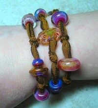 Lampwork Glass Beads, Leather & Sterling Silver Bracelets